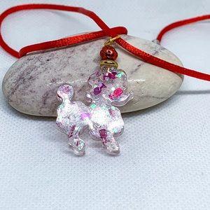 White poodle necklace, Mini poodle necklace